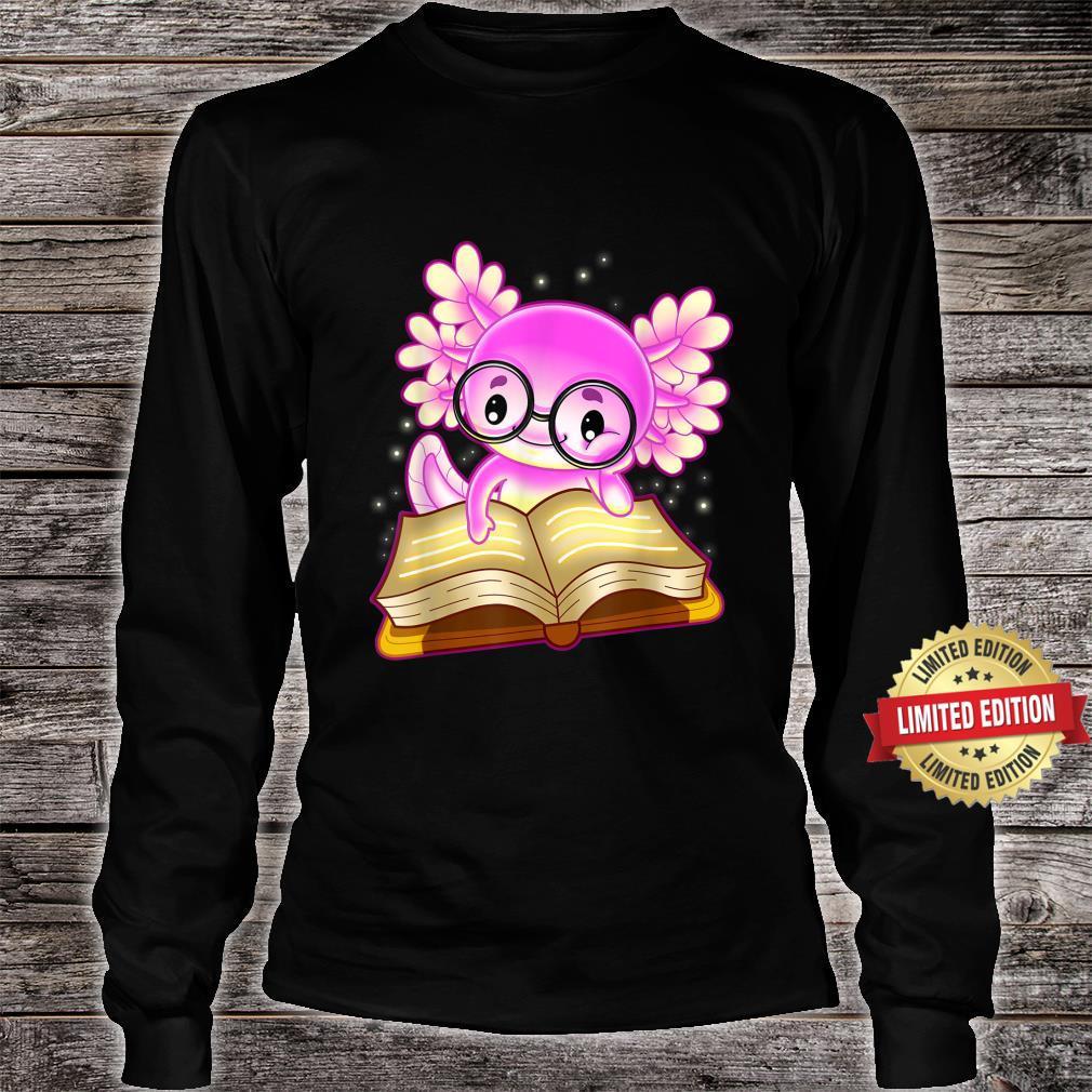 Axolotl Read Book Ambystoma Mexicanum Mexican Walking Fish Shirt long sleeved