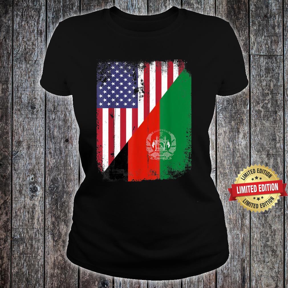 Vintage Afghanistan Afghan Flag United state Flag Support Shirt ladies tee