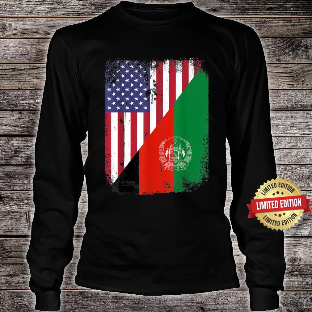Vintage Afghanistan Afghan Flag United state Flag Support Shirt long sleeved