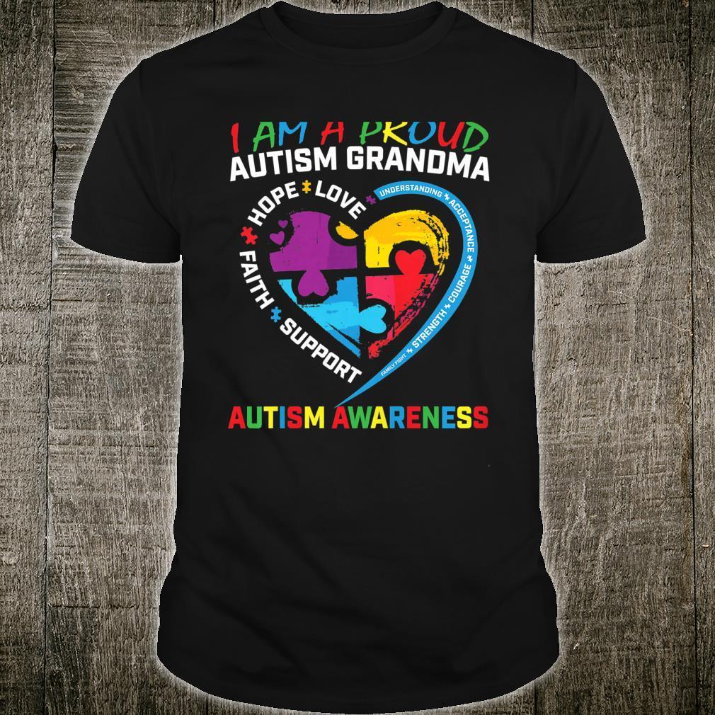 #Womens Proud Autism Grandma Heart Puzzle Autism Awareness Shirt