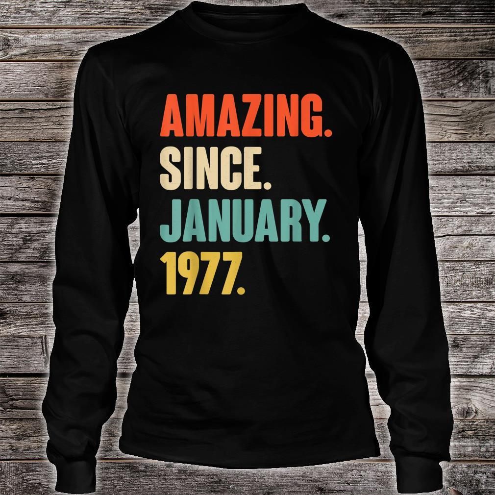 Gift for 44 Year Old Amazing Since January 1977 Birthday Shirt long sleeved