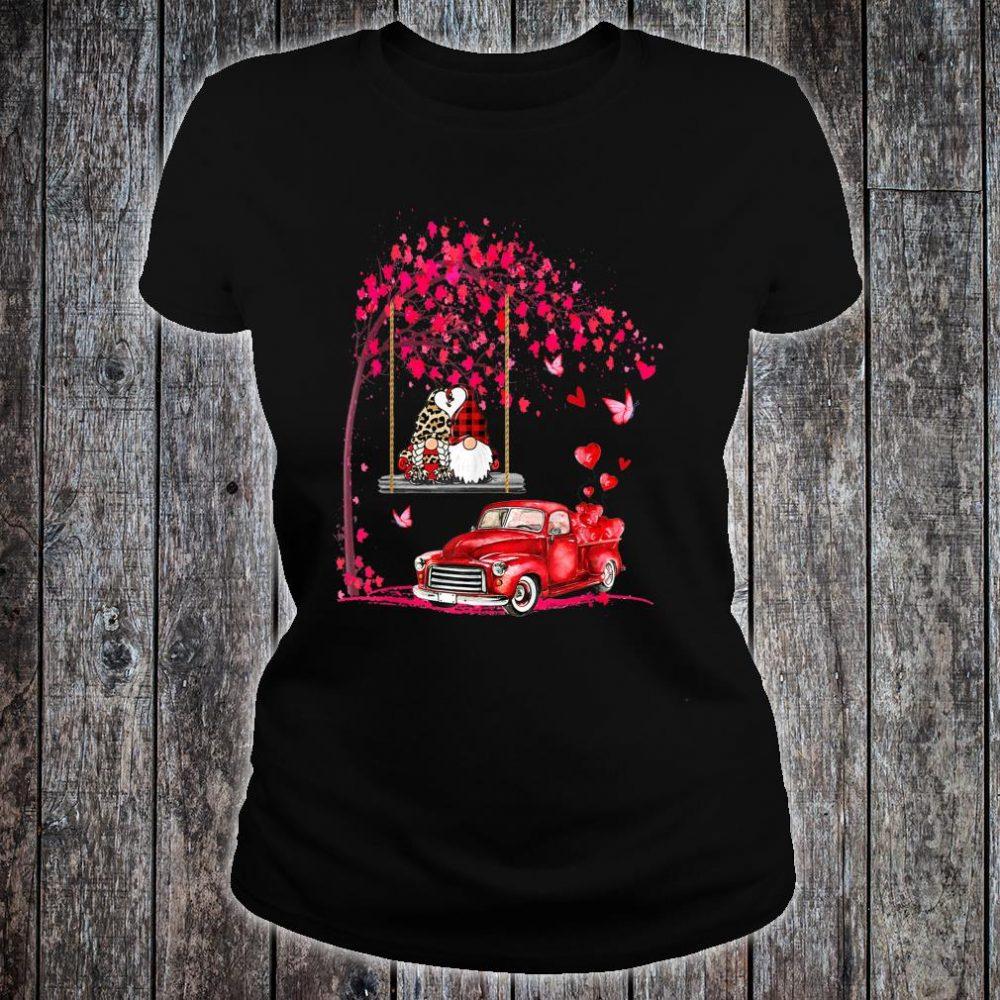 Gnomes red truck tree Valentine's day Shirt ladies tee
