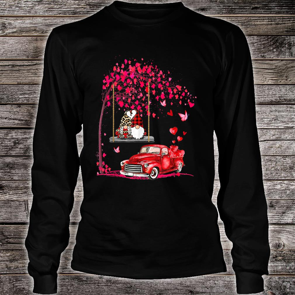 Gnomes red truck tree Valentine's day Shirt long sleeved