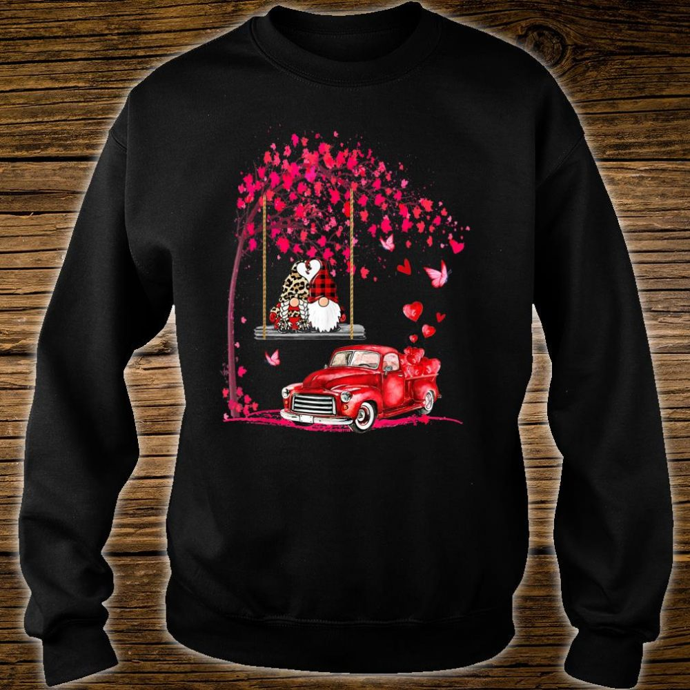 Gnomes red truck tree Valentine's day Shirt sweater