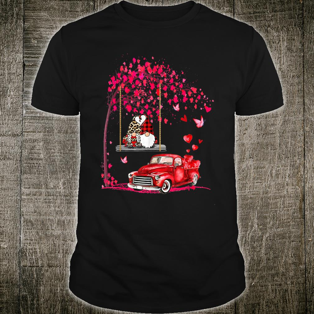 Gnomes red truck tree Valentine's day Shirt