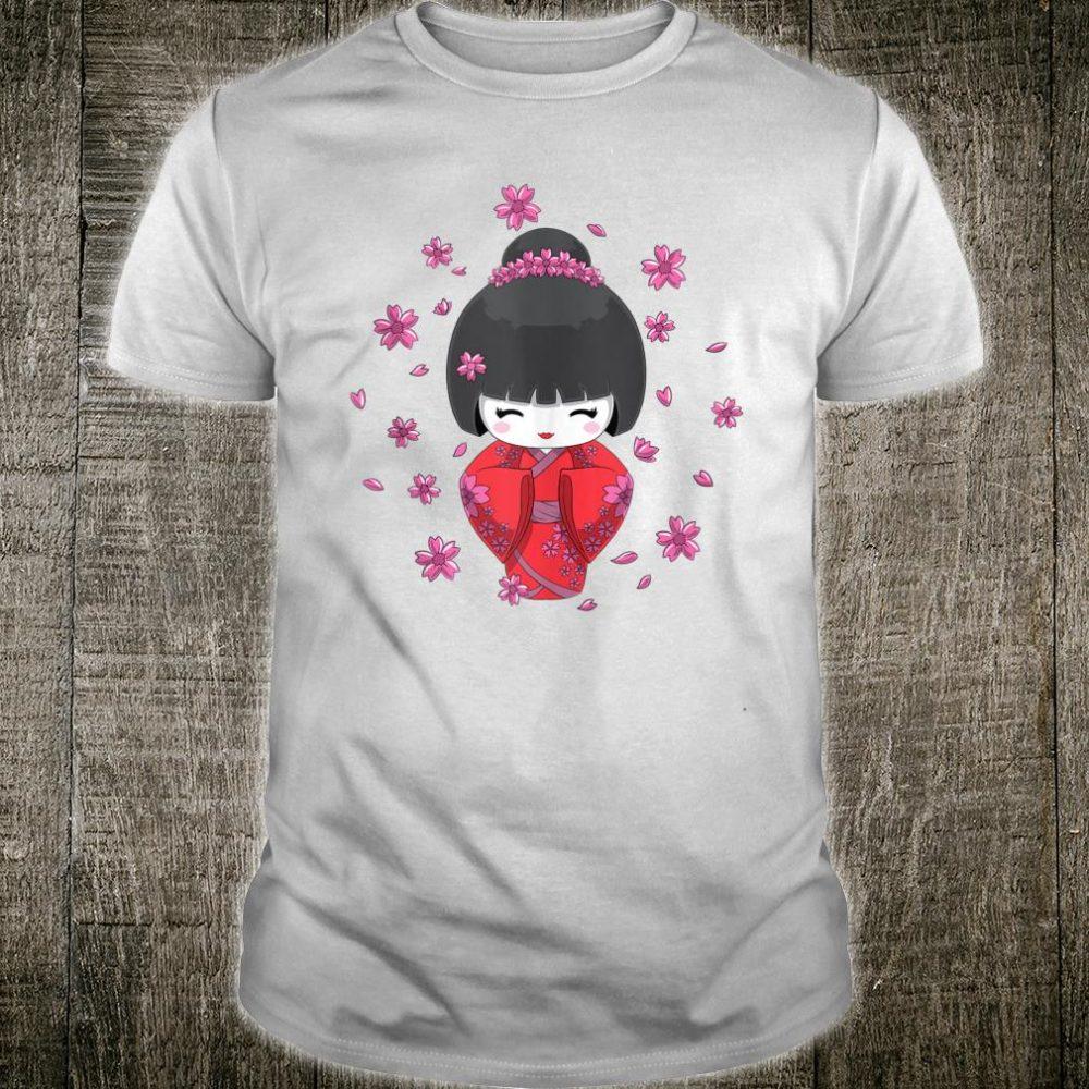 Japanese Kawaii Kokeshi Doll in Kimono and Cherry Blossom Shirt