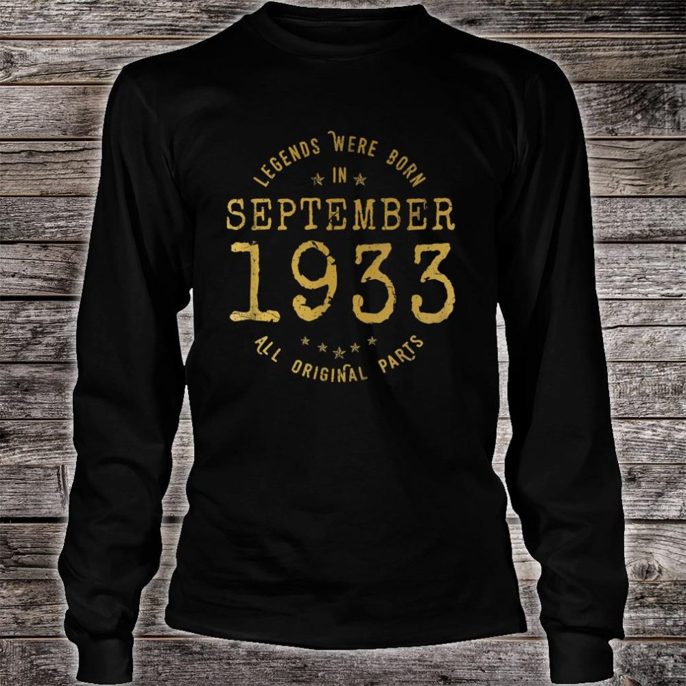 Legends Were Born In September 1933 Vintage 87th Birthday Shirt long sleeved