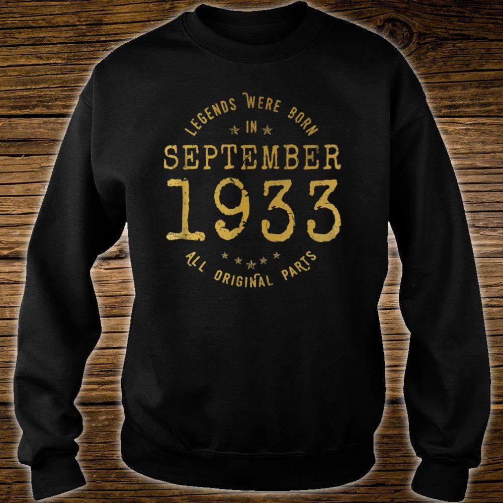 Legends Were Born In September 1933 Vintage 87th Birthday Shirt sweater