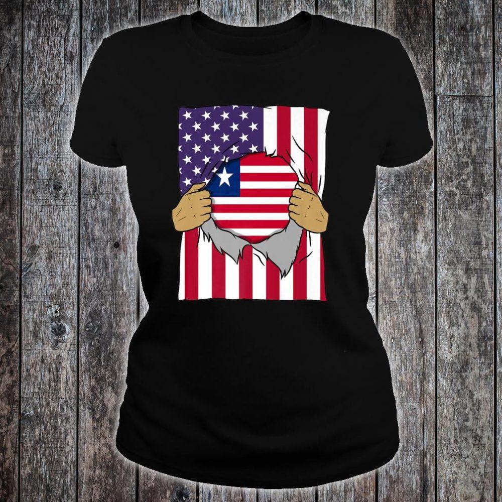 Liberia Flag Inside Me Home Pride Liberian American Shirt ladies tee