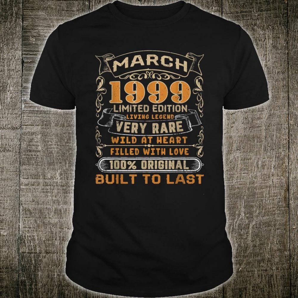 March 1999 Shirt 21 Years Old 21st Birthday Shirt