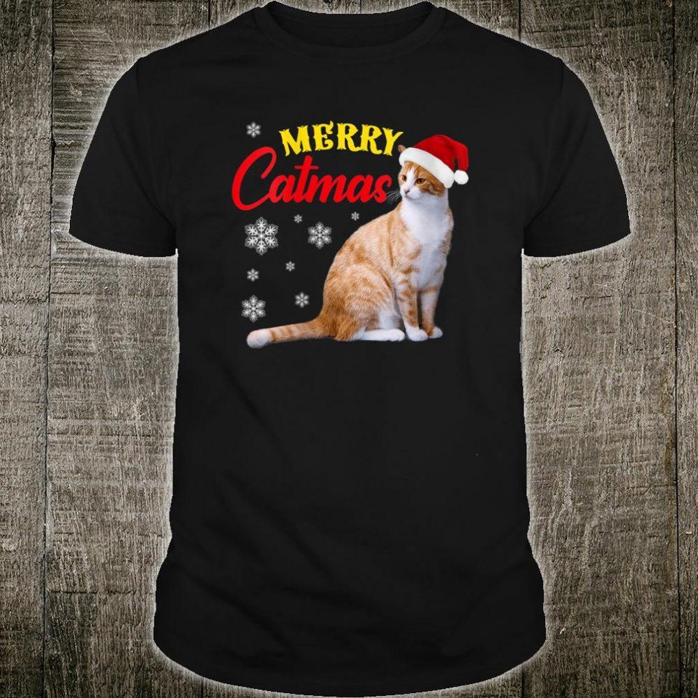 Merry Catmas Christmas Cat Santa Hat Shirt