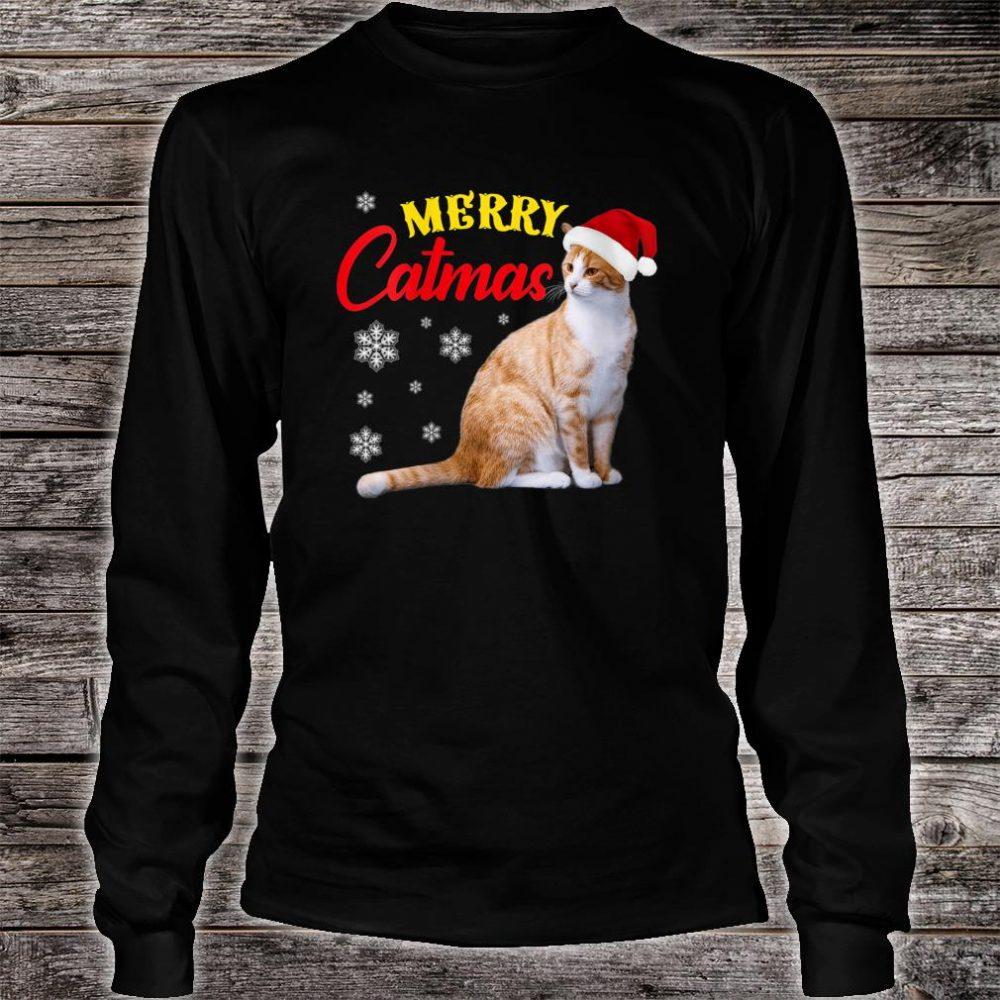 Merry Catmas Christmas Cat Santa Hat Shirt long sleeved