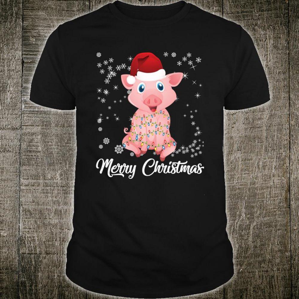 Merry Christmas Pig Lights Santa Ugly Sweater Xmas Claus Shirt