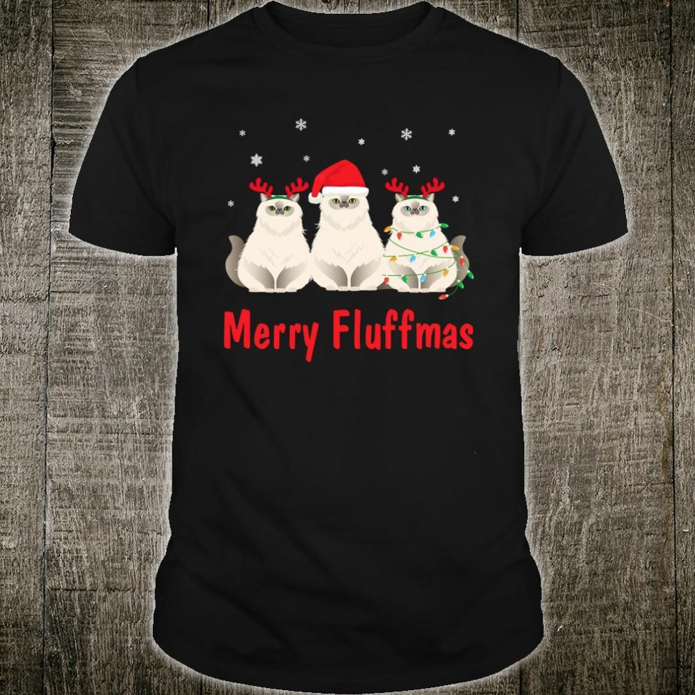 Merry Fluffmas Funny Santa Hat Cat Shirt