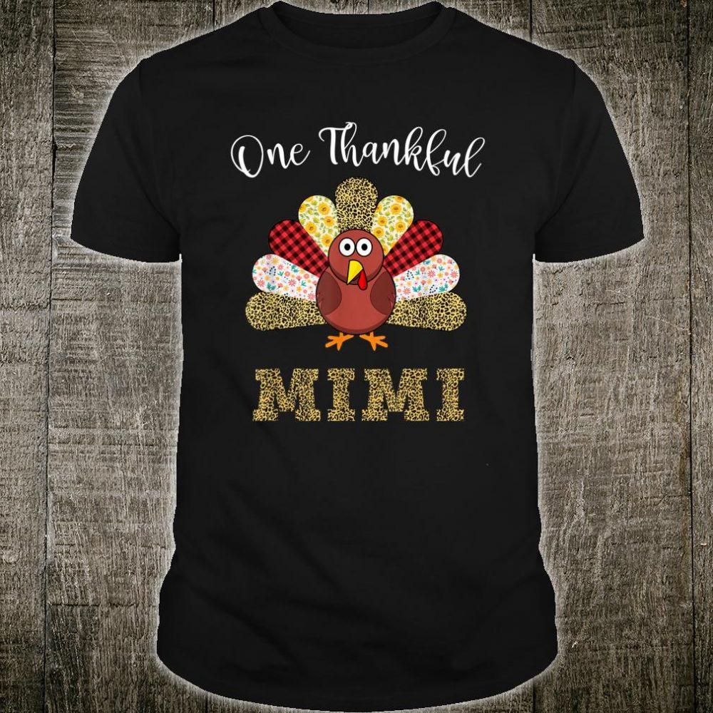 One Thankful MiMi Turkey Leopart Thankgivings Shirt