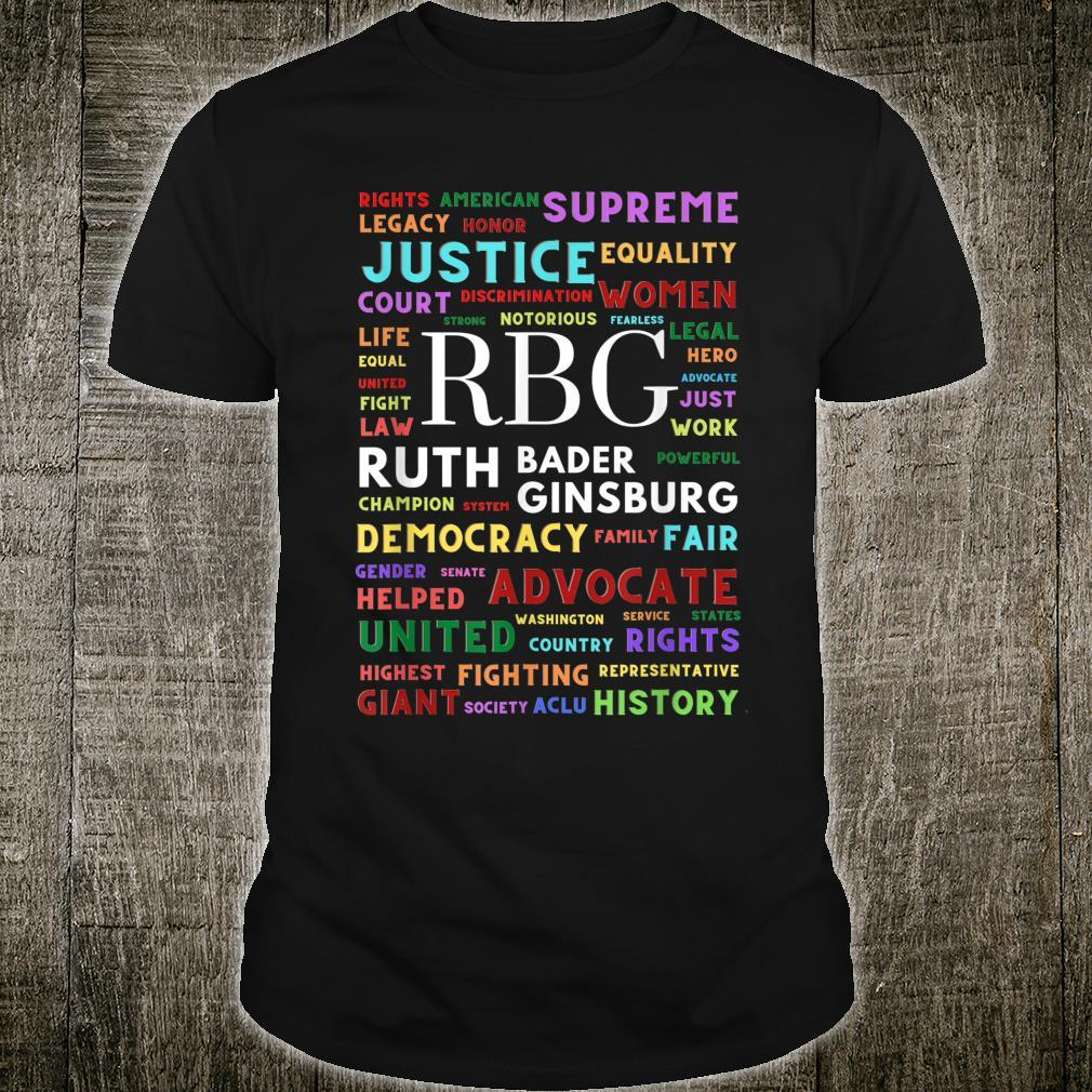 Ruth Bader Ginsburg Tribute Notorious RGB Word cloud Shirt