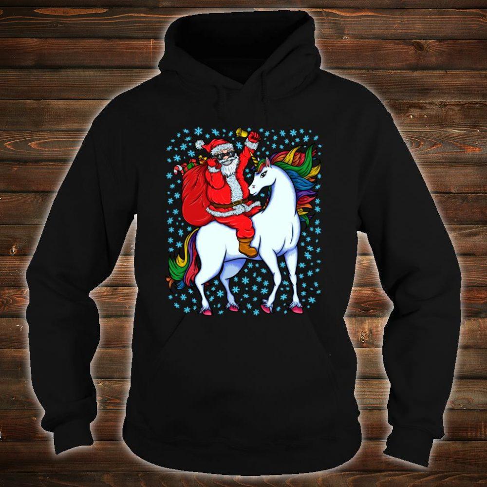 Santa Riding Unicorn Christmas Shirt hoodie