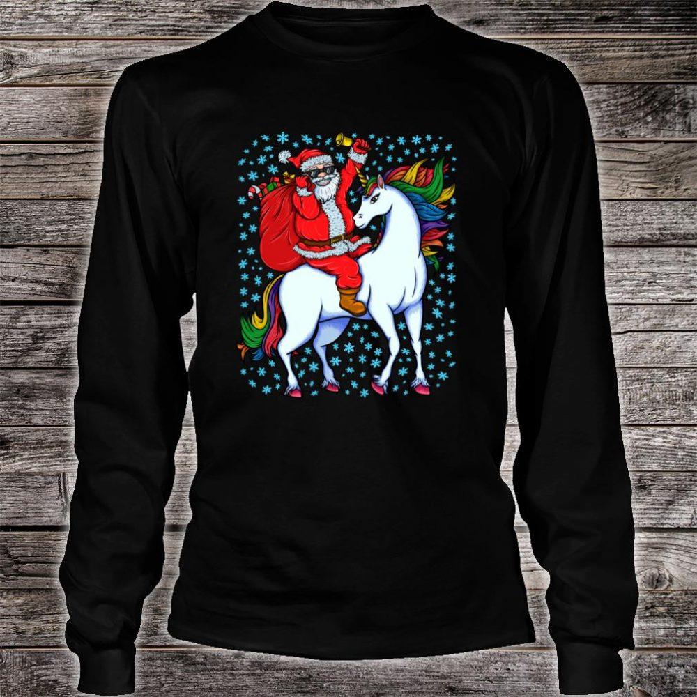 Santa Riding Unicorn Christmas Shirt long sleeved