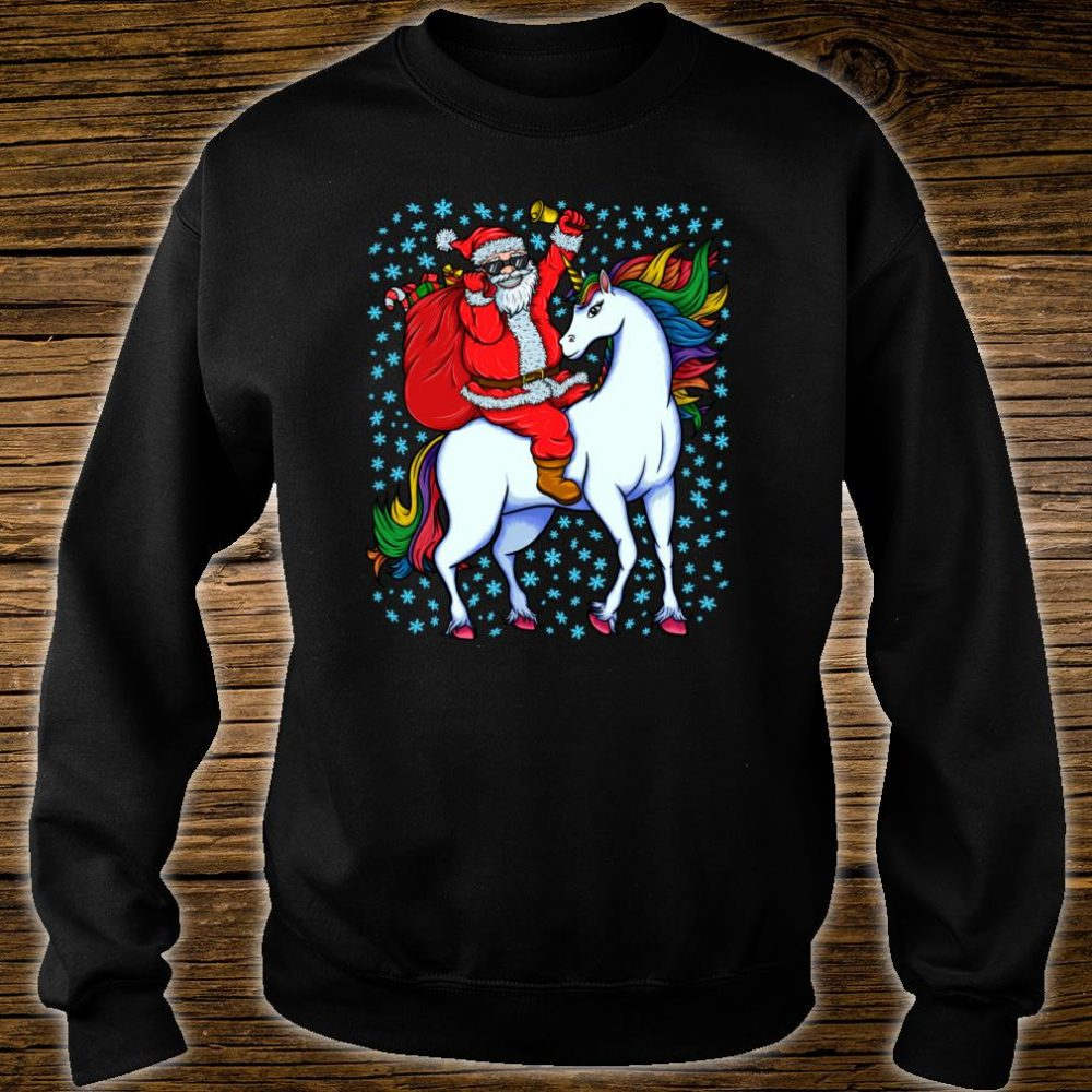 Santa Riding Unicorn Christmas Shirt sweater