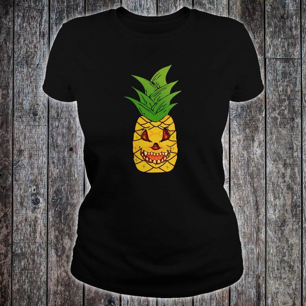 Scary Pineapple Halloween Matching Fruit Funny Costume Shirt ladies tee