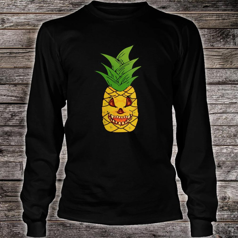 Scary Pineapple Halloween Matching Fruit Funny Costume Shirt long sleeved