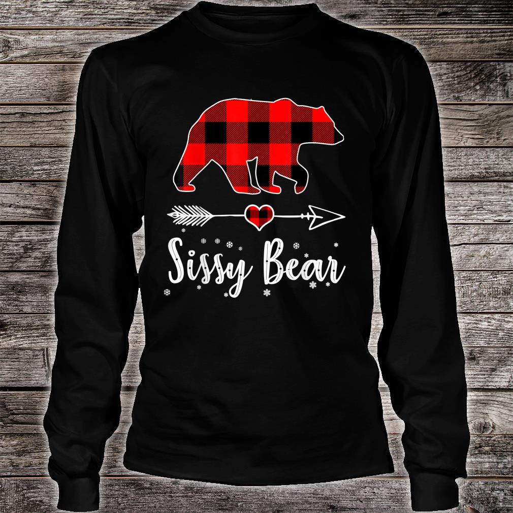 Sissy Bear Red Plaid Christmas Pajama Family Shirt long sleeved