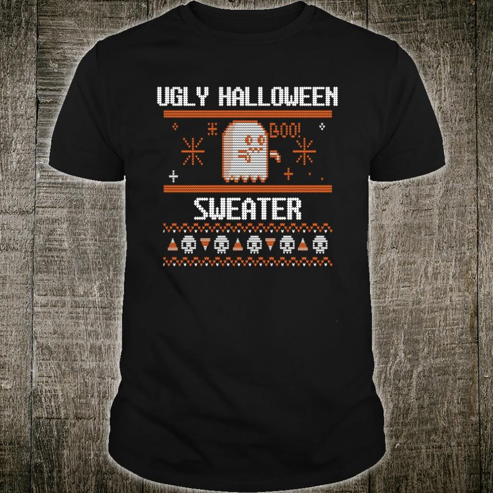 Ugly Halloween Ghost Boo Skull Knitted Jumper Shirt