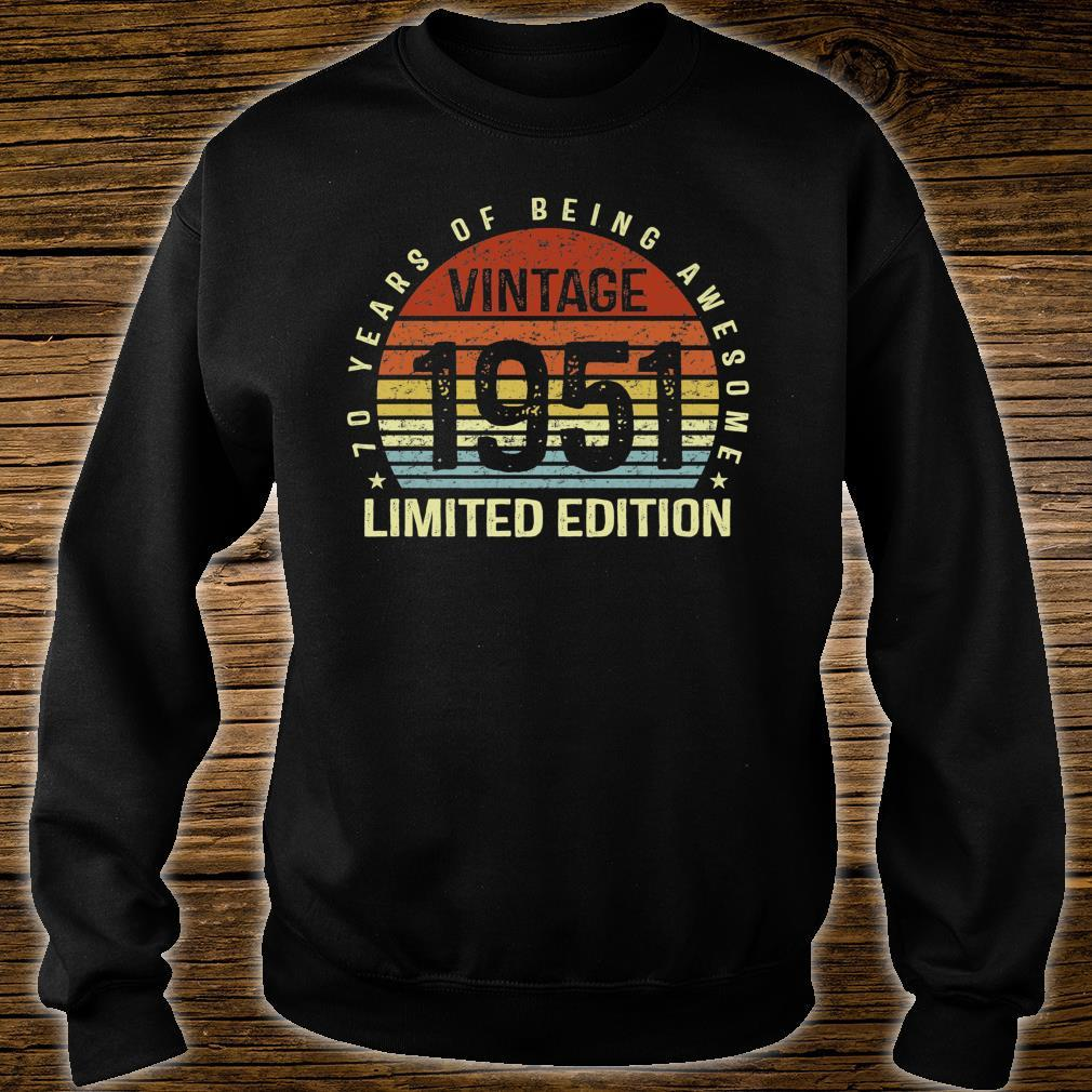 Vintage 1951 Limited Edition 70 Years of Being Awesome Bday Shirt sweater
