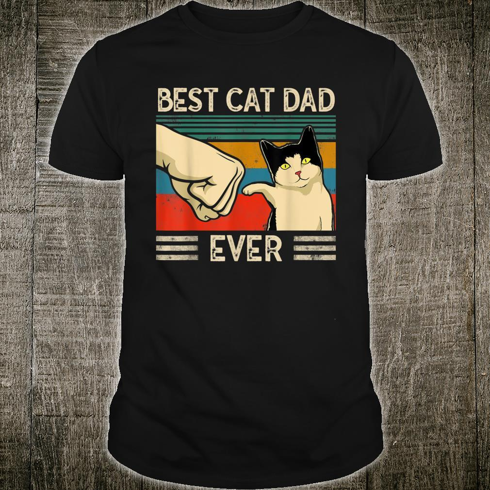 Vintage Best Cat Dad Ever Fathers day Cat Shirt