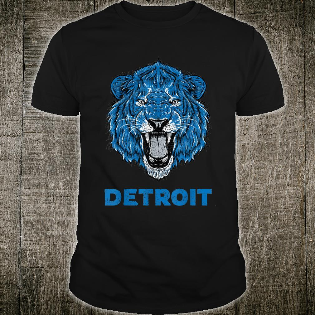Vintage Lion Face Head Detroit Football Shirt